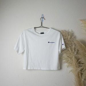 Champion white cropped logo t-shirt